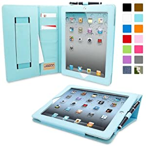 Snugg™ iPad 2 Case - Executive Smart Cover With Card Slots & Lifetime Guarantee (Baby Blue Leather) for Apple iPad 2
