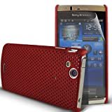KC-Electronics Sony Ericsson Xperia ARC X12 / Xperia ARC S Red Mesh Net Case Skin Cover + LCD Screen Protector Guard