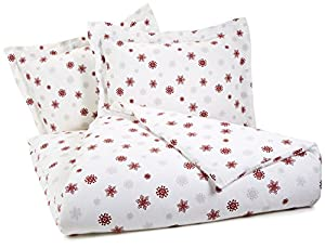 Pinzon Lightweight Cotton Flannel Duvet Set - King, Snowflake Bordeaux