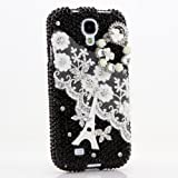 3D Luxury Swarovski Crystal Sparkle Diamond Bling Eiffel tower with white lace Design Case Cover for Samsung Galaxy S4 S 4 IV i9500 fits Verizon, AT&T, T-mobile, Sprint and other Carriers (Handcrafted by BlingAngels®)