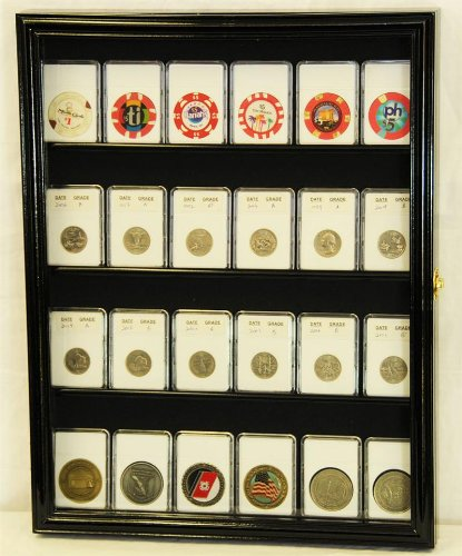 Collector NGC PCGS ICG Coin Slab Display Case Cabinet Holder Rack, Black
