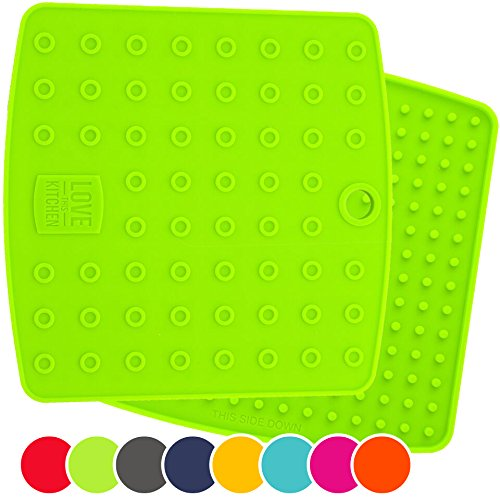 Set of (2) Premium, 5 in 1 Multipurpose Silicone Kitchen Tool: Trivet Mat, Pot Holders, Spoon Rest, Jar Opener, Coaster | Heat Resistant Hot Pads | Thick & Flexible | Great Gifts for Her (Green)