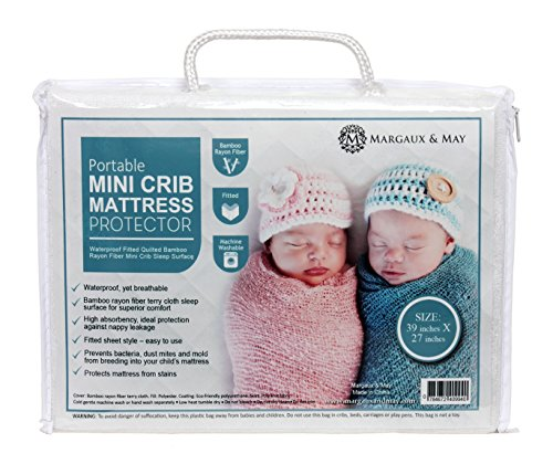 Margaux & May Pack N Play Waterproof Mini Crib Mattress Pad Protector, Extra Deep Skirt, Fits All Portable Crib Sizes Includes Pack N Play, White (Mini Crib Sheet Deep compare prices)