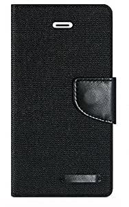 Aart Fancy Wallet Dairy Jeans Flip Case Cover for MotorolaMotoE (Black) By Aart Store
