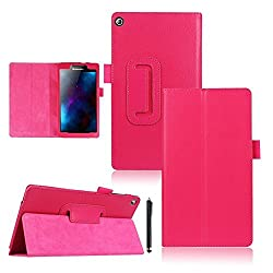Lenovo Tab 2 A7-20 Case,Cooper GTV Brand New [Smart Magnetic] PU Leather Stand Cover Case with [Stylus Holder] and [Auto Sleep/Wake] Function for Lenovo Tab 2 A7-20 Table,Sent Stylus Pen(Rose Red)