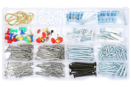 Wall hanging Assortment Kit, Brass plated hooks, white hooks, Picture Hangers, Thumb Tacks, Flanged Plastic Anchors with Screws and Nails, kitchen and office drawers Assortment 360 Pieces. (Metal Pull & Push Door Signs compare prices)
