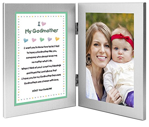 Baptism or Mother's Day Gift for Godmother - Sweet Godchild Poem From Godson or Goddaughter in Double Frame - Add 4x6 Photo - 1