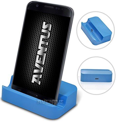 Aventus ZTE Avid Plus Blu Stazione di Ricarica Desktop / Caricatore micro USB con Porta di Compatibilità per Caricamento, Sincronizzazione e Trasferimento dei Dati