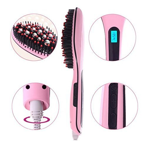 SymbolLife Brush Hair Straightener, Instant Magic Silky Straight Hair Styling, Anion Hair Care, Anti Scald, Zero Damage, Massager Straightening Irons, Detangling Hair Brush Pink