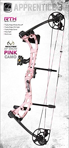 Bear Archery Apprentice III Right Hand Bow Set, Pink Camo, 15-27-Inch/50-Pound