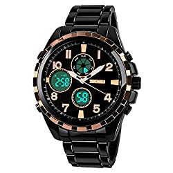 Skmei Formal Chronograph Analog - Digital Black and Gold Dial Mens Watch - AD1021