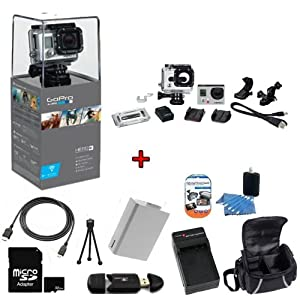 GoPro HERO3: Silver Edition Camera (CHDHN-301) w/ SSE Kit: Includes 32GB SDHC High Speed Memory Card, High Speed Card Reader, Extended Life Battery, External Rapid Home & Travel Charger, Deluxe Case, HDMI Cables + More