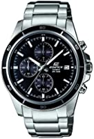 Edifice Men's Quartz Watch with Black Dial Analogue Display and Silver Stainless Steel Bracelet EFR-526D-1AVUEF