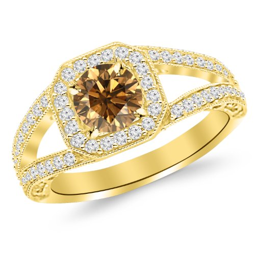 1.67 Carat 14K Yellow Gold Square Halo Split Shank With Milgrain Diamond Engagement Ring With A 1 Carat Natural Untreated Brown/Champagne Diamond Center (Heirloom Quality)
