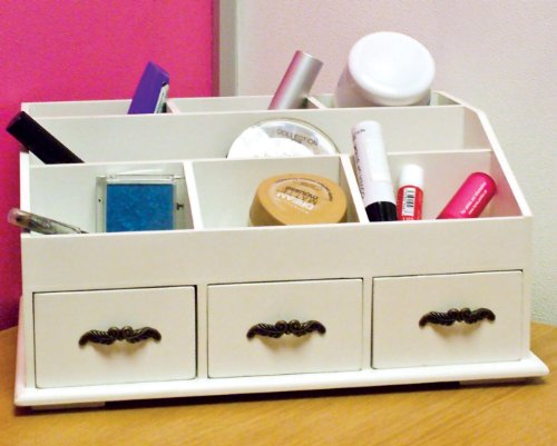 Wooden Desk Tidy / Caddy With Three Drawers And 7 Organiser Compa...