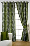 HOMEC Decorous Jacquard Curtain Set of 2 (Size - Long Door 46 X 108 inch/Color - Green)