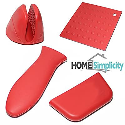 Hot Handle Pot Holders for Cooking & Cast Iron Skillet with Oven Mitt - Red Silicone, 4 Pieces