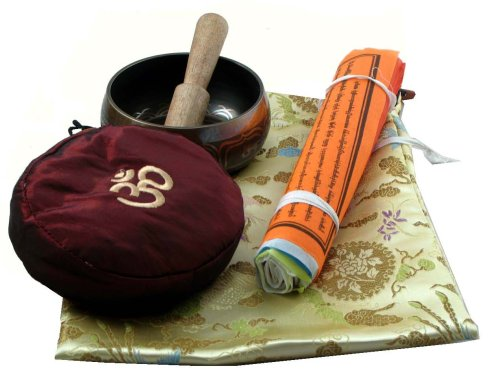 Tibetan Buddhist Singing Bowl Prayer Flags Gift Set
