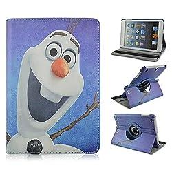 Retro Cartoon Apple iPad Mini Case, iPad mini 1/2/3 Case -- Folio 360 Rotating PU Leather Stand Case with Auto Sleep/Wake Function for Apple iPad Mini, iPad Mini 1 & 2 & 3 (M Olaf)