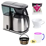 Bonavita BV1800TH 8 Cup Coffee Maker With Thermal Carafe + Gold Tone Basket Coffee Filter + Coffee Filter Cone Size 4 +Hario Paper Filter + 2 pcs 16 oz. Stoneware Coffee Mug