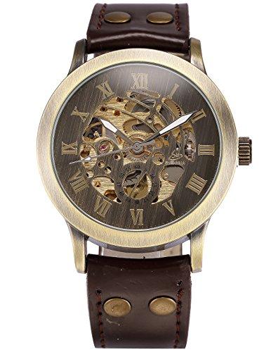 AMPM24 Men's Steampunk Bronze Skeleton Self-Winding Auto Mechanical Leather Wrist Watch PMW198 1