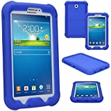 TECHGEAR® Bumper Case for Samsung Galaxy Tab 3 7.0 Inch (SM-T210 / SM-T211 / SM-T215) Rugged Heavy Duty Anti-Shock Protective Case with Added Corner & Edge Protection and Easy Grip Design [BLUE] - Kids & School Friendly Case - NOT for Tab 3 Lite 7.0!!!!!
