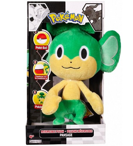 "Pansage ~9"" Pokemon Pokeball Reversible Flip-out Plush - Series #2 [Transform a Pokeball into a Pokemon] - 1"