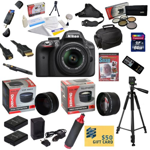 >>  Nikon D3300 Digital SLR Camera with 18-55mm NIKKOR VR II Lens With Pro Shooter Accessory Kit: 64GB High-Speed SDXC Card + Card Reader + 2 Extra Batteries +Battery Charger + Opteka HD² 0.20X Wide Angle Fisheye Lens + 2.2x HD2 AF Telephoto Lens + 5 Piece Pro Filter Kit (UV, CPL, FL, ND4 and 10x Macro Lens) + I-TTL AF Bounce Zoom Flash + HDMI Cable + Padded Gadget Bag + Remote Control + Professional 60