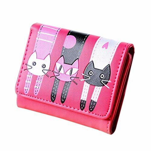 Portafoglio Clode® Donne Cat Modello Della Borsa Della Moneta Titolari Breve Portafoglio Carta Borsetta (Colour : Rosa caldo)