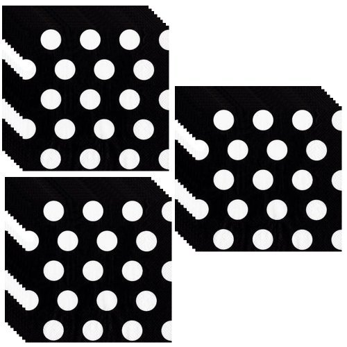 Black Polka Dot Beverage Napkins - 48 Pieces