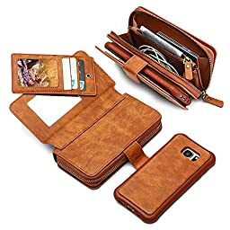 Galaxy Note 7 Detachable Case, JGOO Huge Capacity Retro Vintage PU Leather 10 Card Slots Wallet Case,[Sturdy Snapper w/Zip Bag] Magnetic Separable Back Cover for Samsung Galaxy Note 7,Retro Brown