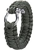 Leegoal Outdoor Paracord Survival Bracelet with Zinc Alloy Bow Shackle,Atrovirens
