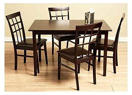 Justin Bi-cast Leather & Wood Dining Set