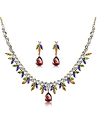 Via Mazzini 18K Gold Plated Top Quality AAA Swiss Cubic Zirconia Necklace Earrings Set For Women (NK0480)