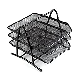 Comix Office File Tray Three Stackable Layers with Metal Brackets - Black (B2163)