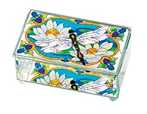Joan Baker Designs BAB3003 Dragonfly/Water Lilies Art Glass Box, 6.75 by 4 by 3-Inch