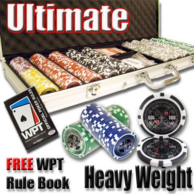 500 Ultimate Poker Chip Set with Free WPT Rule Book. 14 Gram Heavy Weighted Poker Chips.