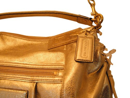 Coach   Coach Handbag - Gold Bag - Inside Lining Beautiful with Leather Trim