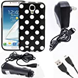 Fosmon 4 in 1 Bundle for Samsung Galaxy S4 IV / I9500 - 1x Fosmon DURA Series SLIM-Fit Case Polka Dot Skin Cover (Black) - 1x Fosmon Micro USB Car / Vehicle Charger - 1x Fosmon Micro USB Home / Travel Charger - 1x Fosmon Micro USB Data Charging Cable