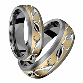 Rayli Elegant Titanium Wedding Band Set with Yellow Gold