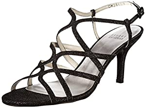 Stuart Weitzman Women's Turningup Dress Sandal, Black, 9 M US