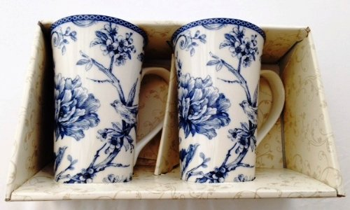 222 Fifth Adelaide Blue (Birds) Fine Porcelain Tall Latte Mug Set of 2 (Gracie China Cake Stand compare prices)