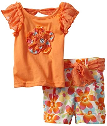 Little Lass Baby-girls Infant 2 Piece Short Set with Flower, Orange, 18 Months