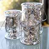 "Eastland® Hanging Mercury Glass Cylinder 8.25"", 6.75"", 5"" Set of 3"