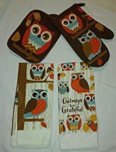 Cute Fall Owl Dish Towel Set of 4