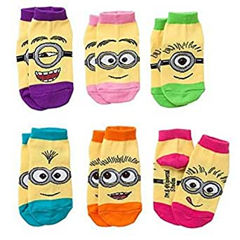 Despicable Me Minion 6-pack toddler Low-Cut Socks - Girls