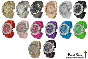 Wholesale Lot of 10 Geneva Glaze Crystal Bangle Watches 8551