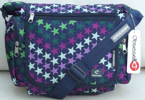 Navy and Green Courier or sling style messenger bag Stars pattern travel cabin or hand luggage school bike
