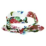 Banda ancha en elastano, diseño con flores, color blanco