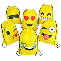 Emoji Drawsting Backpack Bags (6 pack)